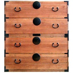 Japanese Kiri 2-Piece Tansu Clothing Storage Chest