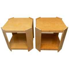 Pair of Goatskin/Parchment End Tables