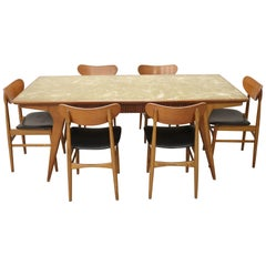 20th Century Danish Vintage Design Chestnut Dining Set 7 Pieces, 1970s