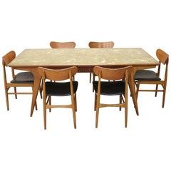 20th Century Danish Vintage Design Chestnut Dining Set 7 Pieces, 1970s