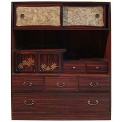 Japanese Chestnut and Rosewood Cha-Dansu Tea Chest (Tansu)