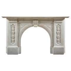 Victorian Chimneypiece of Robust Architectural Form in Carrara Marble