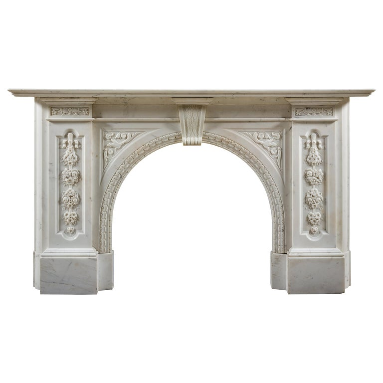 Victorian Chimneypiece of Robust Architectural Form in Carrara Marble For Sale