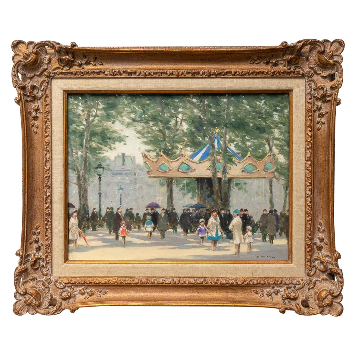 """Oil on Canvas Painting """"Louvre Carousel""""by Andre Gisson"""
