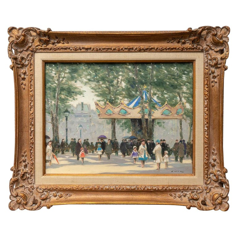"""Oil on Canvas Painting """"Louvre Carousel""""by Andre Gisson For Sale"""