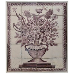 Large 19th Century Framed Delft Tile Flower Motive