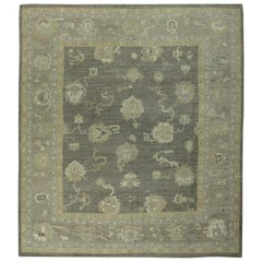 Gray Beige and Brown Contemporary Handmade Wool Turkish Oushak Rug