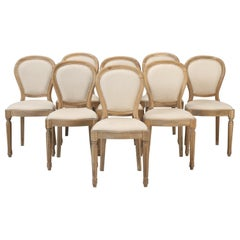 French Louis XVI Style Dining Chairs in White Oak, Set of 8