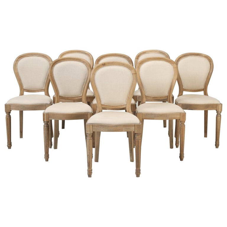 French Louis XVI Style Dining Chairs in White Oak, Set of 8 For Sale