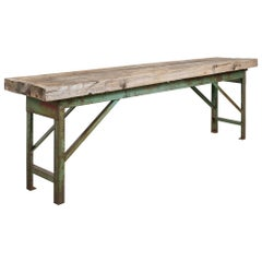 Three-Board Slab Top Work Table on Metal Base, America, 20th Century