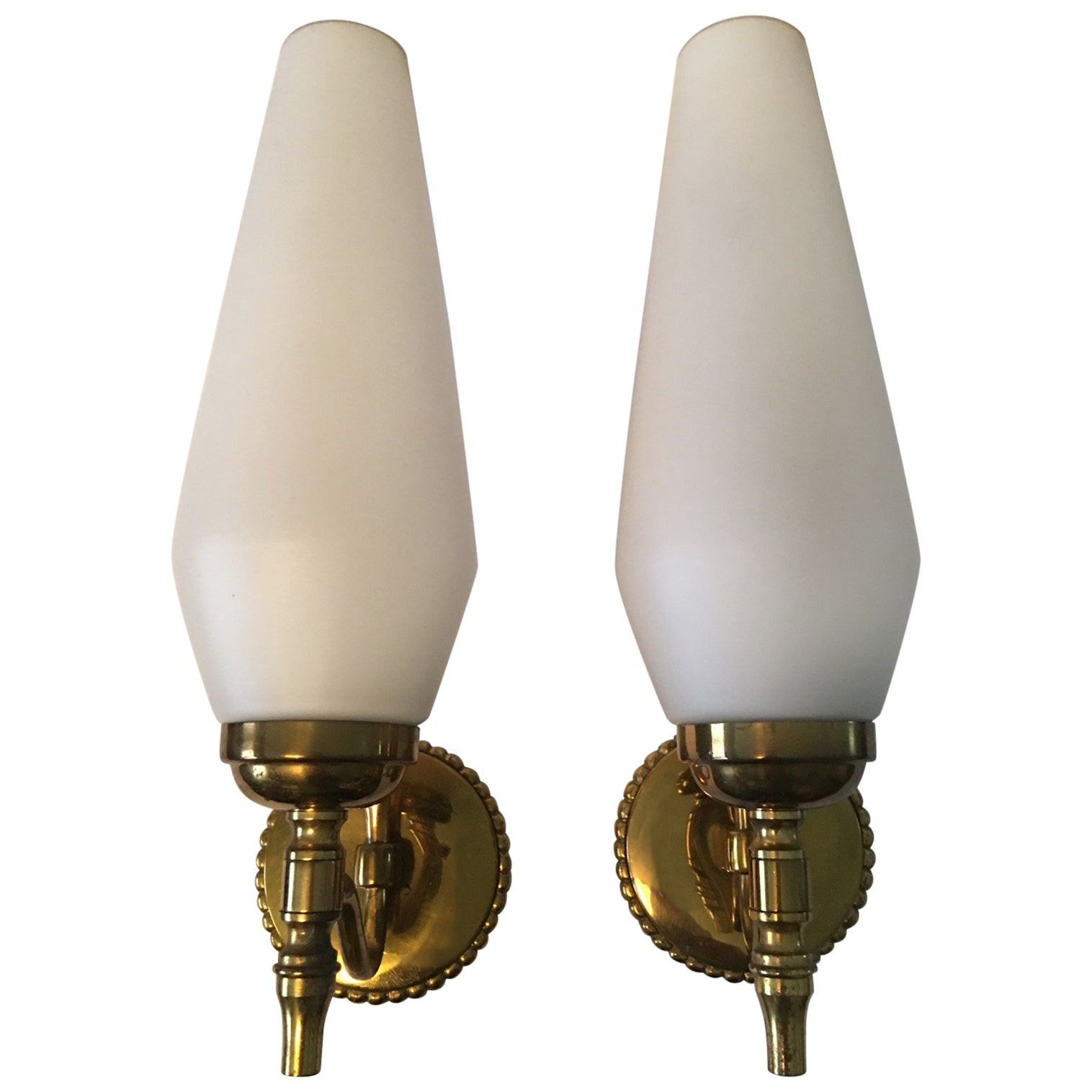 Pair of Lovely Brass and Milk Glass Art Deco Style Sconces