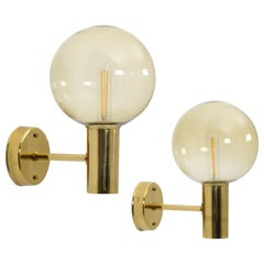 Swedish Midcentury Wall Lamps in Brass and Glass by Hans-Agne Jakobsson