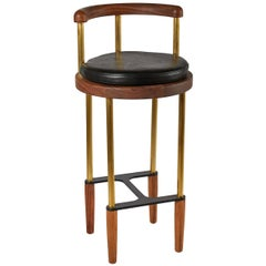 Bone Bar Stool in Oiled Walnut with Brass Legs by Casey McCafferty