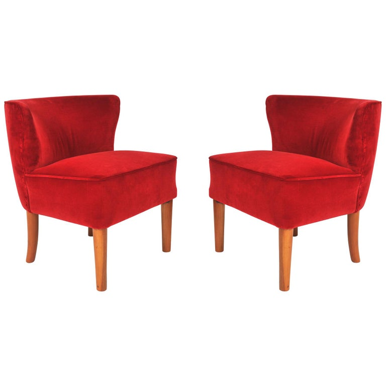 Pair of 1950s Italian Red Occasional Chairs For Sale