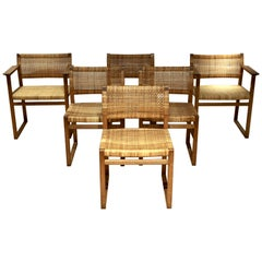 Børge Mogensen, 6 Dining Chairs in Oak and Woven Cane, Denmark, 1957