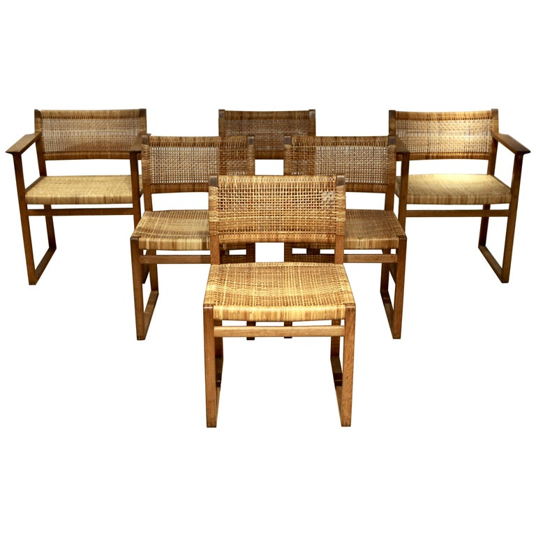 Børge Mogensen, 6 Dining Chairs in Oak and Woven Cane, Denmark, 1957 For Sale