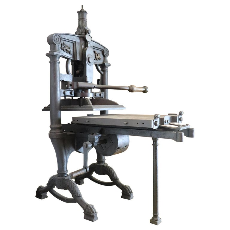 19th Century Italian Antique Large Museum Iron Book Press For Sale