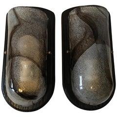 Pair of Hand Blown Kalmar Style Glass Sconces on Ebonized Wood