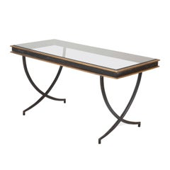 Iron and Polished Bronze Coffee Table in the Manner of Andre Arbus