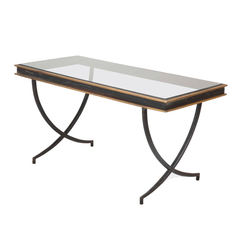 Iron and Polished Bronze Coffee Table in the Manner of Andre Arbus For Sale