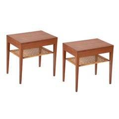 Pair of Teak Bedside Tables with Rush Shelf Designed by Severin Hansen Jr.