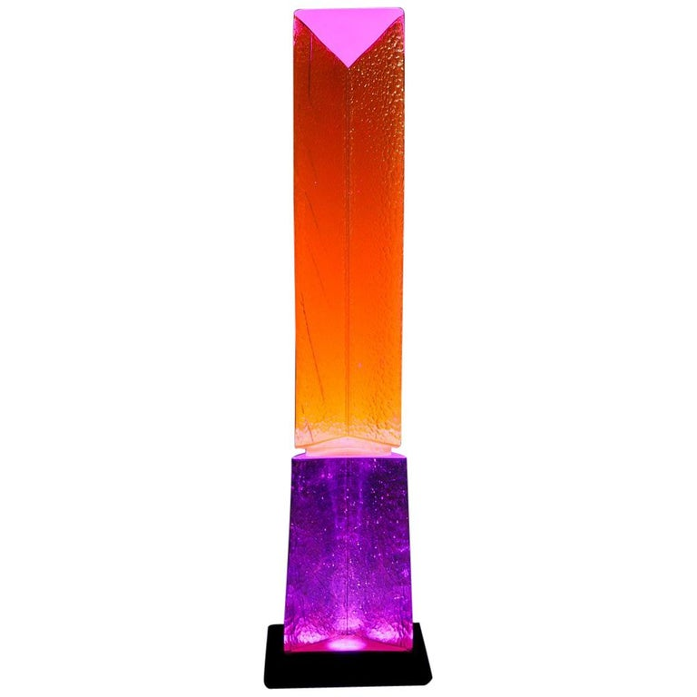 Fluorescent Light Glass Sculpture Pink Purple Orange by Yves Braun Table Lamp For Sale