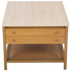 Travertine Top Mahogany Side Table Designed by Paul McCobb