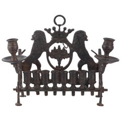 Galician Bronze Hanukah Lamp, 19th Century