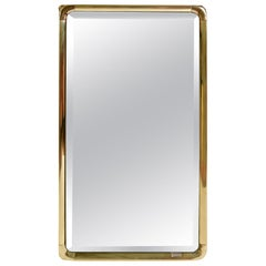 1970s Brass Framed Wall Mirror by Mauro Lipparini