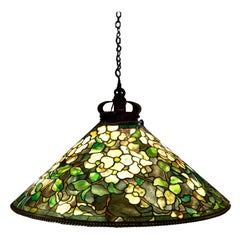 Tiffany Studios Dogwood Stained Glass Bronze Hanging Shade Pendant Lamp, 1905