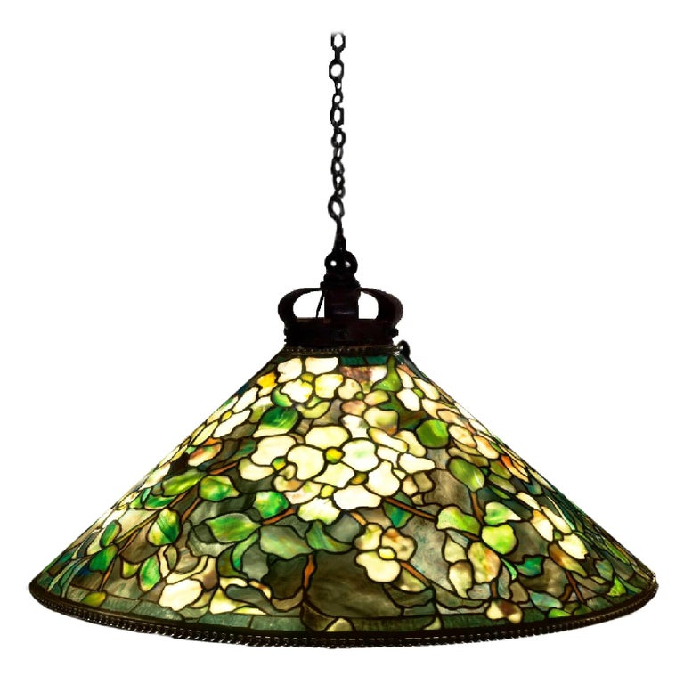 Tiffany Studios Dogwood Stained Glass Bronze Hanging Shade Pendant Lamp, 1905 For Sale