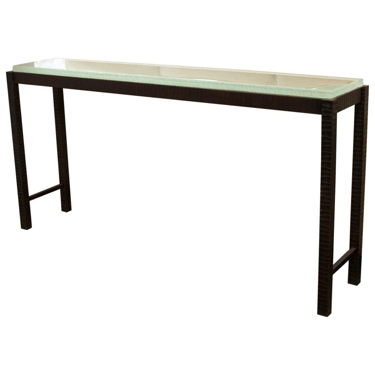 Hand-Forged Steel and Cast Glass Console Table by Gregory Clark For Sale