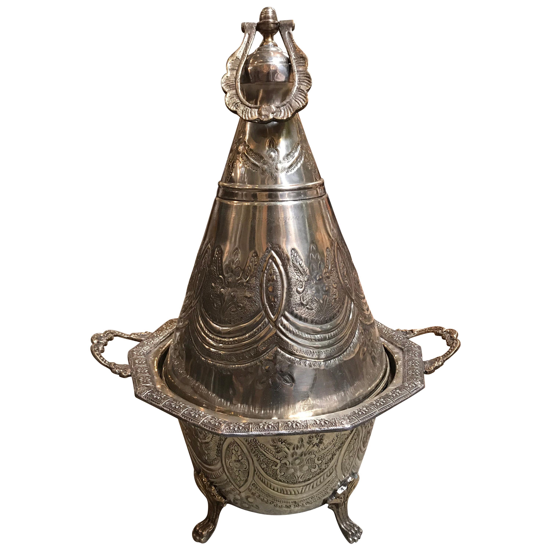 Silver Metal Moroccan Tajine
