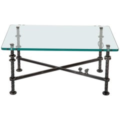 Patinated  Wrought Iron Coffee Table by Llana Goor
