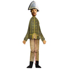 Hand Made German Folk Art Jumping Jack Soldier Toy Figure, circa 1890