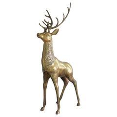 Large Brass Deer Sculpture, 1970s