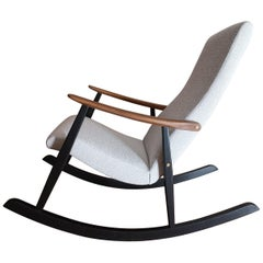 Midcentury Upholstered Rocking Chair by Ilmari Lappalainen for Asko