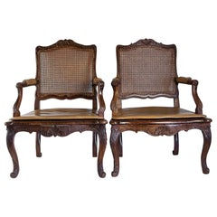 French Regence Period, Pair of Canne Armchairs
