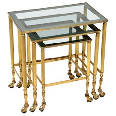1960s Vintage French Brass and Glass Nest of Tables