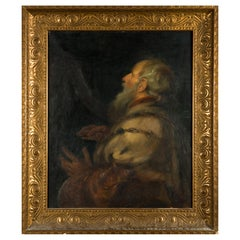 "Oil Painting after Peter Paul Rubens ""King David Playing the Harp"""