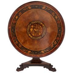 Antique Victorian Period Marquetry Circular Centre Table