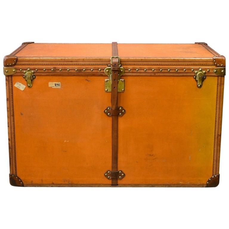Large Louis Vuitton Orange Steamer Trunk, circa 1925 For Sale