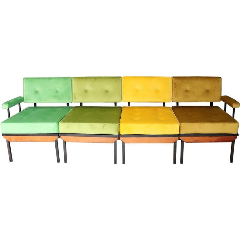 Italian Midcentury Modular Sofa Restored with Velvet, 1960s For Sale