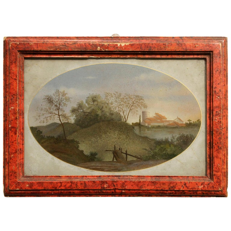 18th Century Italian Landscape Oil Painting on Glass with Red Lacquer Frame For Sale