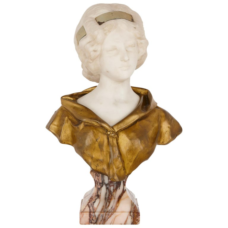 Gilt Bronze and White Marble Bust of a Woman by Gory For Sale