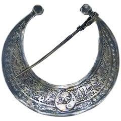 Antique Tunisian Silver Fibula HLAL Nemli Work, circa 1900