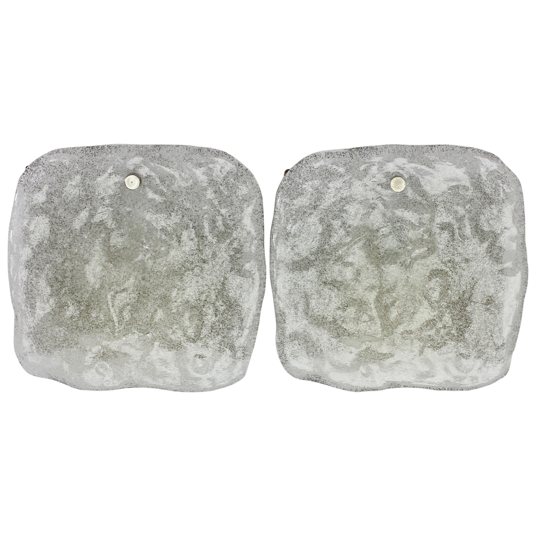 "J.T. Kalmar Pair of Pulegoso ""Foam"" Glass Wall Lights or Vanity Sconces"