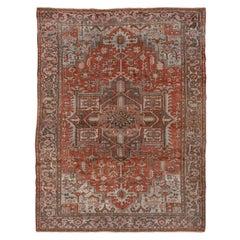 Gorgeous Persian Heriz Carpet, Geometric, Red Field, Blue Outer Field