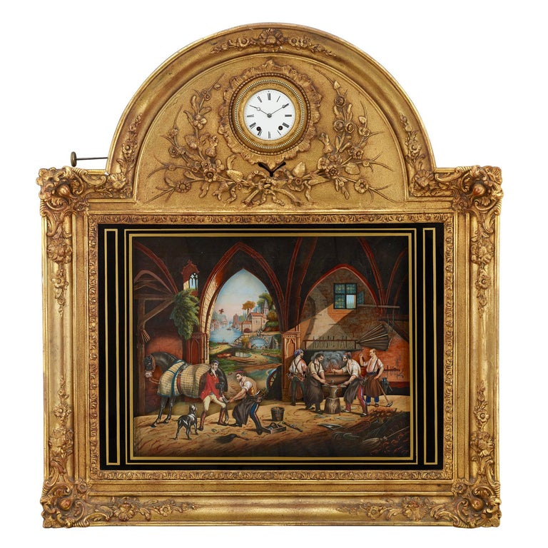 French Musical Automaton Picture Clock For Sale