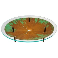 "David Orth Patinated Steel ""Meteorite"" Coffee Table"